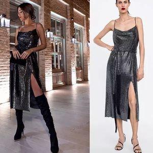 Zara Silver Shiny Dress Strappy Shimmer Fringe